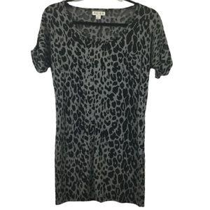 REISS Leopard Print Short Sleeve Tee in Grey/Black